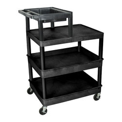 Luxor - Luxor Transport Cart - LPT44-B - Luxor's LPT tool/utility carts are made from polyethylene shelves that will not scratch, dent, rust or stain.