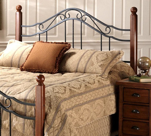 Hillsdale Furniture - Madison Lodge Style Metal Scroll Headboard wi - Choose Size: KingBoth rustic and elegant, this striking headboard merges twisted wire spindles with the look of wrought iron and carved wood posts to create a distinctive finished look. The piece is finished in textured black and is available in your choice of size options. For residential use. Includes headboard and frame rails. Square solid wood posts. Round twisted wire spindles. Textured Black finish. Wood: Rubberwood. Wood Finish: Brown CherryDimensions:. Twin: 50 in. H. Twin leg headboard frame: 76.5 in. L x 54 in. W. Full/queen: 50.5 in. H. Full/queen headboard frame: 83.5 in. L x 78 in. W. King: 50.5 in. H. King headboard frame: 83.5 in. L x 78 in. WPopular combination of wood and iron elements make this a great design. Square solid wood posts are combined with Black metal grills that feature round twisted wire spindles.