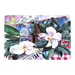 Caroline's Treasures - Barq's And Magnolia Kitchen Or Bath Mat 20X30 - Kitchen or Bath COMFORT FLOOR MAT This mat is 20 inch by 30 inch.  Comfort Mat / Carpet / Rug that is Made and Printed in the USA. A foam cushion is attached to the bottom of the mat for comfort when standing. The mat has been permenantly dyed for moderate traffic. Durable and fade resistant. The back of the mat is rubber backed to keep the mat from slipping on a smooth floor. Use pressure and water from garden hose or power washer to clean the mat.  Vacuuming only with the hard wood floor setting, as to not pull up the knap of the felt.   Avoid soap or cleaner that produces suds when cleaning.  It will be difficult to get the suds out of the mat.
