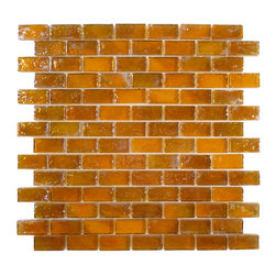 "Glass Tile Oasis - Caramel Uniform Brick Brown Bricks Glossy and Iridescent Glass - Sheet size: 11 7/8"" x 11 7/8"""