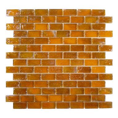 "Glass Tile Oasis - Caramel Uniform Brick Brown Bricks Glossy and Iridescent Glass - Sheet size: 11 7/8"" x 11 7/8"""