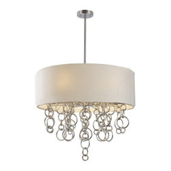 George Kovacs - Ringlets 6-Light Pendant - This eye-catching pendant is a modernized version of the traditional chandelier. Metal rings drip down from the drum shaped pendant to dazzle above your more contemporary dining room table.