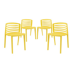 Modway - Curvy Dining Chairs Set of 4 EEI-1315 Yellow - Indulge in no-frills, straightforward contemporary style with this modern multi-purpose chair. Made from heavy-duty molded plastic this chair was built to last. Eye catching and comfortable, this reproduction brings fashion and flavor to your space.