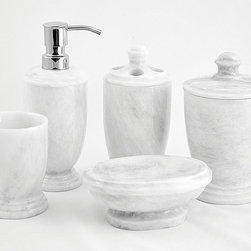 Nature Home Decor - 300WZ7 | White Marble Bathroom Accessories Set - From the foothills of the Himalayan Mountains we bring you this exotic White Marble Bathroom Set exclusively designed for Nature Home Decor.