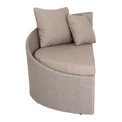 """Linda Lounge Chair (Left Facing)-Tpe - 8mm polyethylene rattan in brushed taupeAluminum frameIncludes 1 seat cushion, 2 back pillows (1 lg, 1 sm)Taupe polyester water-resistant fabricIndoor/outdoor Fully assembled Seat: 15.5""""height, 47.5""""depth"""