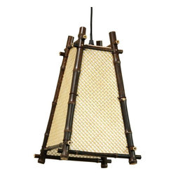 """Oriental Furniture - 14"""" Itashi Japanese Hanging Lantern - The Itashi is a beautiful Japanese style electric hanging lantern. Hand crafted with natural, rustic materials in a practical and portable design; easy to hang on a hook almost anywhere on your ceiling. No electrician is necessary; just simple assembly and a light bulb. Hang it on a hook, plug it in and turn it on; the switch is built into the five foot long power cord. Our hanging lanterns provide a convenient, inexpensive way to put a ceiling light over your reading chair, desk, or dining table, without professional installation. These lamps provide clear, direct light below the lantern, and cast a soft, warm indirect light throughout the room."""