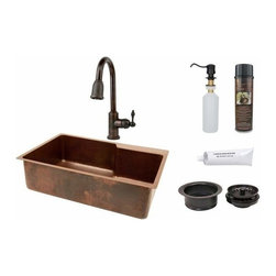 Premier-Copper-Products - Copper Sink w/Space For Faucet, ORB Faucet - KSP2_KSFDB33229 Premier Copper Products 33 Inch Hammered Copper Kitchen Single Basin Sink with Space For Faucet, ORB Pull Down Faucet, Matching Drains, and Accessories.
