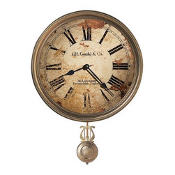 Howard Miller - Howard Miller J. H. Gould and Co. III Wall Clock - Howard Miller - Wall Clocks - 620441 - This antiqued traditional wall clock is styled to have the same worn and distressed look as those of John Gould, a renowned woodworker in turn of the century Devonshire, England. Distinguished by its weathered dial with Roman numerals, black spade hands and antiqued pendulum, the Gould and Co. III celebrates the timeless essence of old world craftsmanship. Battery operated quartz movement ensures consistent timekeeping and completes the well-worn appeal of the Gould and Co. III Wall Clock.