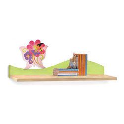 Garden Wall Shelf - A colorful Butterfly Fairy floats on this Magic Garden birch veneer wall shelf, ideal for hanging over the desk or changing table/dresser.