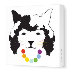 "Avalisa - Animal Face - Queen Cat Stretched Wall Art, 28"" x 28"", Rainbow -"