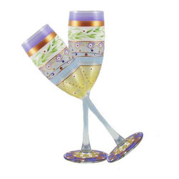 Golden Hill Studio - Mosaic Garland Champagne Glasses Set of 2 - Party lights: The glimmer of metallic and multihued designs on this champagne glass help to add sparkle at your next party. No disco ball needed.