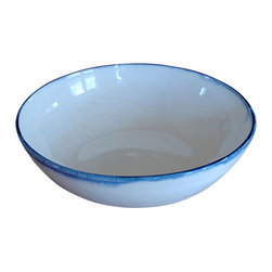 "dbo Home - Tipped Bowl - Approx 6"" x1.5"" A great accent to the Kashmir Collection a simple white wheel thrown bowl with a hand painted rim...some with a bit of a drip. Fabulous ice-cream bowl!"