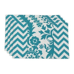 Chooty and Co Suzani and Zig Zag Turquoise Lined Placemat - Set of 4 - Brighten your decor in cool, contemporary style with the Chooty and Co Suzani and Zig Zag Turquoise Lined Placemat - Set of 4. Crafted of 100% pure cotton, this durable set of four placemats features a bright zig zag pattern in cheerful turquoise. Made in the USA. Hand-wash or spot-clean.About Chooty & Co.A lifelong dream of running a textile manufacturing business came to life in 2009 for Connie Garrett of Chooty & Co. This achievement was kicked off in September of '09 with the purchase of Blanket Barons, well known for their imported soft as mink baby blankets and equally alluring adult coverlets. Chooty's busy manufacturing facility, located in Council Bluffs, Iowa, utilizes a talented team to offer the blankets in many new fashion-forward patterns and solids. They've also added hundreds of Made in the USA textile products, including accent pillows, table linens, shower curtains, duvet sets, window curtains, and pet beds. Chooty & Co. operates on one simple principle: What is best for our customer is also best for our company.