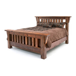 Woodland Creek Furniture - Barnwood Mission Bed - The barnwood Mission bed is one of the very first designs from the barnwood collection. It remains one of our most popular barn wood bed designs. This rustic bed is handcrafted from solid barn wood timbers. Yes, it is as sturdy as it looks.  We will put this bed up against any bed on the market in terms of sturdiness and rustic aesthetic beauty.  The thick vertical reclaimed posts are hand-sanded and soft to the touch. The bed is not only sturdy and solid, but it is equally beautiful. Each barnwood bed has over one hundred years of natural markings and weathering. This bed is a functional piece of Americana art as the reclaimed wood beams once supported a barn somewhere in the Midwest. Now, it will give comfort to you and your family.