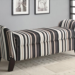 Wildon Home - Striped Storage Arm Bench Ottoman - Features: -Northlake collection. -Upholstered in brown and black striped micro velvet fabric. -Transitional style.