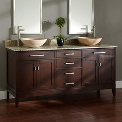 "72"" Light Espresso Madison Double Vessel Sink Vanity - Enjoy the striking look of the spacious 72"" Light Espresso Madison Double Vanity in your master bath."