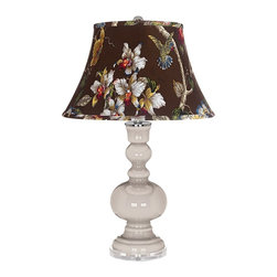 "Color Plus - Contemporary Pediment Olive Botanical Shade Apothecary Table Lamp - Pediment gray glass table lamp. Olive botanical print bell shade. Lucite base. Maximum 150 watt or equivalent bulb (not included). On/off switch. 30"" high. Shade is 10"" across the top 17"" across the bottom 11"" on the slant.   Pediment gray glass table lamp.  Olive botanical print bell shade.  Lucite base.  Maximum 150 watt or equivalent bulb (not included).  On/off switch.  30"" high.  Shade is 10"" across the top 17"" across the bottom 11"" on the slant."