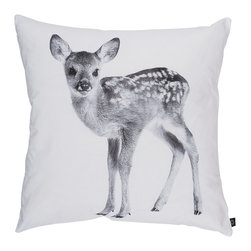 By Nord Copenhagen - Deer Kids Cushion - A beautiful kids cushion with a digital print of a Deer. In By Nord's recognized cotton canvas quality and inclusive an inner cushion with mixed duck feather and down filling.
