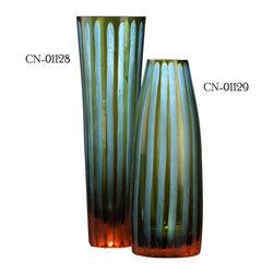 Cyan Design - Cyan Design 01128 Large Cyan and Orange Striped Vase - Large Cyan and Orange Striped Vase (left)