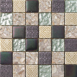 Hand Color Stone And Glass Tile Mosaic 2X2 Backsplash, Box - Sold by the box 11 sheets