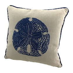 Zeckos - Linen Sand Dollar Throw Pillow with Navy Blue Accents 15 In. - This throw pillow is a wonderful accent to your beach themed decor! It features a blue sand dollar in the center, with navy blue piping around the edge. The pillow measures 15 inches by 15 inches, and has a discreet zipper along the bottom of the linen cover so you can remove and wash it. The pillow insert is 100% polyester. It looks lovely on beds, chairs, and couches anywhere in your home, and makes a great gift for a friend.