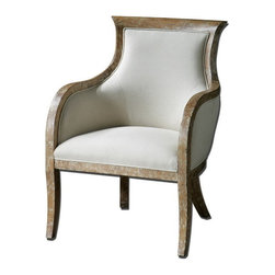 "Uttermost - Uttermost 23080  Quintus Linen Armchair - Almond stained, distressed solid white mahogany with antiqued, toffee crackle paint finish and soft linen covering blended with cotton trimmed in welt and teflon(r) treated for soil resistance. seat height is 18.5""."