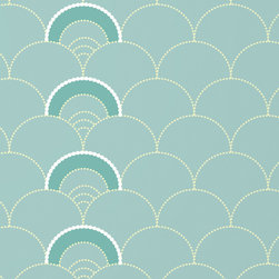 Grow House Grow - Mme. Jeanne Wallpaper, Foam, Rollx2 - Curves ahead! Like perfect seashells scattered on the shore, the muted tones and simple motif of this American-made, hand-printed wallpaper lend classic elegance to your favorite room.