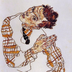 "Egon Schiele Self Portrait - 16"" x 24"" Premium Archival Print - 16"" x 24"" Egon Schiele Self Portrait premium archival print reproduced to meet museum quality standards. Our museum quality archival prints are produced using high-precision print technology for a more accurate reproduction printed on high quality, heavyweight matte presentation paper with fade-resistant, archival inks. Our progressive business model allows us to offer works of art to you at the best wholesale pricing, significantly less than art gallery prices, affordable to all. This line of artwork is produced with extra white border space (if you choose to have it framed, for your framer to work with to frame properly or utilize a larger mat and/or frame).  We present a comprehensive collection of exceptional art reproductions byEgon Schiele."