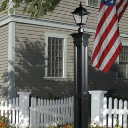Grandin Road - Liberty Lamp Post - Use our Liberty Lamp Post and Madiston Post Mount Lamp to add a sleek design element to your front yard. Our lamp post and light will brilliantly light the path to your home. The mail post includes a decorative post and aluminum pipe insert.To install, secure the pipe insert into concrete. Please note, lighting hardware is not included.