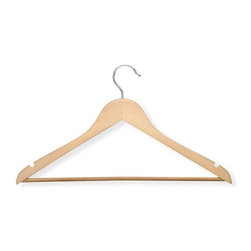 Honey Can Do - Basic Suit Hanger with Non-slip Bar in Maple - Streamlined shape. Keeps clothing looking freshly pressed. Non-slip bar. Keeps pants in place. Limited lifetime warranty. 17.5 in. L x 0.45 in. W x 9.35 in. H (1.06 lbs.)Honey-Can-Do HNG-01206 4-Pack Suit Hanger, Maple. Beautiful, wooden clothes hanger has a contoured design perfect for keeping shirts, dresses, and jackets wrinkle-free. Features a 360 degree swivel rod hook to hang items easily on any closet rod, towel bar, or standard size door. Non-slip pant bar holds fabrics perfectly in place. A gorgeous upgrade for any closet space.