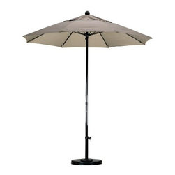 California Umbrella 7.5-ft. Complete Fiberglass Sunbrella Patio Umbrella - There's no environment too harsh for the California Umbrella 7.5 ft. Commercial Grade Fiberglass Umbrella. Not only are the 8 sturdy ribs maked of ultra-strong, ultra-flexible fiberglass, but the pole is as well. Entirely constructed of highly durable fiberglass, this is the most weather-resistant frame on the market. A solid resin hub works to connect the pole and ribs. Suitable for use with many table styles, the bottom portion of the pole is adjustable for bar height and standard height use. The pole measures 1.5-inches diameter so it accommodates the umbrella holes of most patio tables. A 7.5-foot diameter canopy is perfect for use with bistro tables and small cafe tables. You have the choice of three grades of Sunbrella fabrics for your shade. All Sunbrella fabrics are the best you can buy, and these shades have a 5-year warranty against fading. Grade A fabrics are solution dyed canvas colors. Grade AA are solution dyed canvas colors in deep, rich tones, and grade AAA are textured fabrics, with the look and feel of linen. About SunbrellaSunbrella has been the leader in performance fabrics for over 45 years. Impeccable quality, sophisticated styling and best-in-class warranties prove the new generation of Sunbrella offers more possibilities than ever. Sunbrella fabrics are breathable and water-repellant. If kept dry, they will not support the growth of mildew as natural fibers will. Beautiful and durable, Sunbrella is a name you can trust in your outdoor furniture. Cleaning and Caring for SunbrellaRegular maintenance is the best way to keep your Sunbrella fabrics looking good and delay deep, vigorous cleaning. Brush off dirt before it becomes embedded in the fabrics, and wipe up spills as soon as they occur. For light cleaning, use a mild soap and water solution and a sponge, allowing your cleaning solution to soak into the fabric. Rinse thoroughly to remove all soap residue and allow fabric to air dry. For more specifics on maintaining Sunbrella fabrics, visit Sunbrella.com. Sunbrella fabrics have been tested to provide up to 98% UV protection, depending on depth of color. Whites and lighter colored fabrics provide less protection than darker fabrics. This protective factor is inherent to the product and will not diminish through use or exposure to the sun. Sunbrella furniture and umbrella fabrics have been awarded the Seal of Recommendation by the Skin Cancer Foundation, an international organization dedicated to the prevention of skin cancer. Beautiful and protective fabric is the hallmark of Sunbrella. About California UmbrellaCalifornia Umbrella is known for producing high-end, quality patio umbrellas and frames for over 50 years. The California Umbrella trademark is immediately recognized for its standards in engineering and innovation among all the brands in the United States. As a leader in the industry, California Umbrella strives to provide you with products and service that will satisfy even the most demanding consumers. Its umbrellas are constructed to give the consumer many years of pleasure, and its canopy designs are limited only by the imagination. California Umbrella is dedicated to providing artistic, innovative, fashion-conscious, and high-quality products for all your needs.