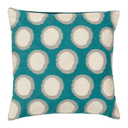 Surya - Surya Dots Turquoise Pillow - The Surya Dots pillow elicits playful texture upon the mod sofa. Outlined in gray, antique white circles create a lighthearted motif across a fresh turquoise surface. 100% linen; Includes down filler; Dry cleaning recommended.