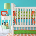 Caden Lane - Bright Baby Green and Blue Crib Bedding, 2pc Set - How fun is this bright and funky baby bedding for your nursery? The turquoise, green, and orange striped skirt is vibrant and classic. Add orange nursery decor, and your baby's room will be the best room in the house!