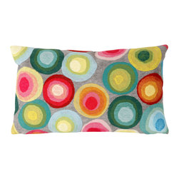 """Trans-Ocean Inc - Puddle Dot Multi 12"""" x 20"""" Indoor Outdoor Pillow - The highly detailed painterly effect is achieved by Liora Mannes patented Lamontage process which combines hand crafted art with cutting edge technology. These pillows are made with 100% polyester microfiber for an extra soft hand, and a 100% Polyester Insert. Liora Manne's pillows are suitable for Indoors or Outdoors, are antimicrobial, have a removable cover with a zipper closure for easy-care, and are handwashable.; Material: 100% Polyester; Primary Color: Grey;  Secondary Colors: blue, green, orange, pink, red; Pattern: Puddle Dot; Dimensions: 20 inches length x 12 inches width; Construction: Hand Made; Care Instructions: Hand wash with mild detergent. Air dry flat. Do not use a hard bristle brush."""