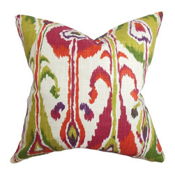 "The Pillow Collection - Gudrun Ikat Pillow Pink 18"" x 18"" - Create an unconventional and inviting look in your living space by adding this bright-hued ikat pillow. Shades of fuchsia pink, green, white and red adorn this square pillow. Toss this 18"" pillow in your sofa, bed, or seat to add a pop of color and texture to your interiors. Pair this throw pillow with a matching print or solids for a unique decor style. Hidden zipper closure for easy cover removal.  Knife edge finish on all four sides.  Reversible pillow with the same fabric on the back side.  Spot cleaning suggested."