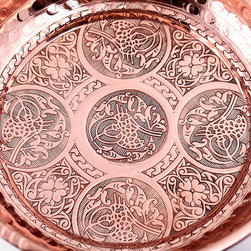 Hand Made Copper Footed Hammam Bowl - Copper  footed Turkish Hammam bowl. Sides are hammered by hand and signatures of Ottoman Sultans engraved on the center of the bowl.