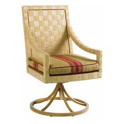 Lexington - Tommy Bahama Canberra Surf & Sand Swivel Rocking Dining Chair - Inspired by the rugged beauty and indigenous style of Australia, designs from the Canberra Surf & Sand collection feature a beautiful parquet pattern of all-weather woven rattan in a light natural finish. The look has a sophistication level that would make it absolutely appropriate for indoor use. With Canberra Surf & Sand, casual contemporary designs from half a world away will make you feel right at home. Relax in style!