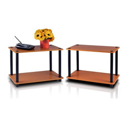 Furinno - Furinno 11250-SET Turn-N-Tube Shelf, Set of 2, Light Cherry/Black - Furinno Turn-N-Tube Home Living Mini Storage and Organization Series: 2-Tiers No Tools Tube Storage Shelving Unit . (1) Unique Structure: Open display rack, shelves provide easy storage and display for decorative and home living accessories. Suitable for rooms needing vertical storage area. Designed to meet the demand of low cost but durable and efficient furniture. It is proven to be the most popular RTA furniture due to its functionality, price, and the no hassle assembly. (2) Smart Design: Easy Assembly and No tools required. A smart design that uses durable recycled PVC tubes and engineered particleboard that withstand heavy weight. Just repeat the twist, turn and stack mechanism, and the whole unit can be assembled within 10 minutes. Experience the fun of D-I-Y even with your kids . (3) The  Particleboard is manufactured in Malaysia and comply with the green rules of production. There is no foul smell, durable and the material is the most stable amongst the particleboards. The PVC tube is made from recycled plastic and is tested for its durability. A simple attitude towards lifestyle is reflected directly on the design of Furinno Furniture, creating a trend of simply nature. All the products are produced and assembled 100-percent in Malaysia with 95% - 100% recycled materials. Care instructions: wipe clean with clean damped cloth. Avoid using harsh chemicals.  Pictures are for illustration purpose. All decor items are not included in this offer.