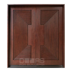 Modern Collection (Custom Solid Wood Doors) - Custom Front Entry Door -  Double - Modern Collection - Doors For Builders Inc.