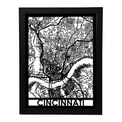 Cut Maps - Cincinnati Street Map - The Cut Maps 'City Art' collection are designed from real city maps, they provide a unique birds-eye view of your favorite neighborhoods and streets to display in your home or office.