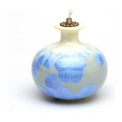 ATD - 3.75 Inch Pale Blue and Mellow Yellow Tones Short Round Oil Lamp - This gorgeous 3.75 Inch Pale Blue and Mellow Yellow Tones Short Round Oil Lamp has the finest details and highest quality you will find anywhere! 3.75 Inch Pale Blue and Mellow Yellow Tones Short Round Oil Lamp is truly remarkable.
