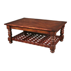 TerraSur - Leo Coffee Table - Give your living room a rustic, unfussy feel with this classic rectangular coffee table. The hardwood has been hand-distressed, and given a multilayered auburn finish that you'll marvel at. The hand-woven leather bottom shelf is the perfect place to hold decorative items you want to showcase, while keeping the planked surface free and spacious.