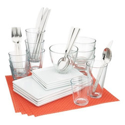 4-top cuatro hot orange dinner set - less is minimal.- Medium-sized white porcelain platter is dishwasher-, microwave- and conventional oven-safe- Clear glass bowls are made in Italy; dishwasher- and microwave-safe- Made in China- See dimensions below