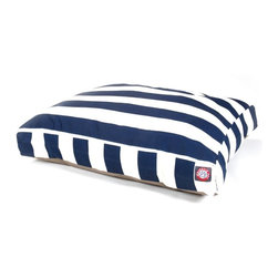 MAJESTIC PET PRODUCTS - Vertical Stripe Rectangle Pet Bed - This stylish rectangular pet bed looks great in any room of your house and is filled with ultra-plush fiberfill for luxurious napping. The removable zippered slipcover is made from outdoor-treated, UV-protected polyester for durability, and the base is made from heavy-duty waterproof 300/600 denier fabric that can go inside or out. Spot clean the slipcover and hang dry. Comes in a variety of colors and patterns, so you can pick the one that complements your decor.
