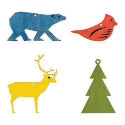 Winter Signs Ornaments - Set of 4 - Shaggy bears, caribou, evergreens, cardinalsthese are nature's famous reminders of wintertime. Add them to your tree in eye-catching primary colors with this set of bold laser-cut wood ornaments.