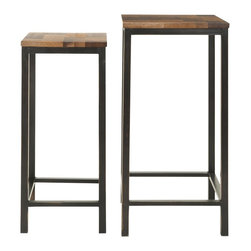 Safavieh - George Stacking Table - The George Stacking Tables nest one inside the other. Simply lift the taller table to access its companion when you want two separate pieces for entertaining and then stack them together again to conserve space. Crafted from mixed woods finished in different shades of brown for a parquet effect, the contemporary design features metal legs in dark espresso finish.
