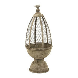 "Zentique - Metal Birdcage by Zentique - The metal birdcage by Zentique is one of those items that can be placed in any room. It is decorative enough to leave empty or ... add some moss balls for an earthy rustic look. This can definitely break up the momentum on a bookshelf. Try changing the decor with the seasons or holidays. (ZEN) 20"" High x 8"" Wide x 8"" Deep"