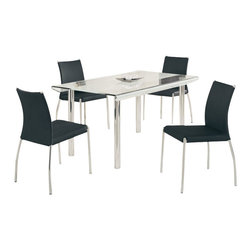 Global Furniture USA - DA818L-DT + DB841DC-BL Glass & Black Leatherette Five Piece Dining Set - The DA818L-DT + DB841 dining set works well with any decor and will add a touch of modern design. This table features a rectangular clear glass top with a frosted strip accent down the middle. A unique curved design of the glass top along the edges adds to the contemporary look. The table has a traditional four leg metal design that come in a  chrome finish. The dining chairs come upholstered in a beautiful black leatherette material. They feature a curved back design with a chromed leg base. The dining set includes the dining table and four chairs only.