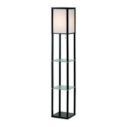 Adesso - Berk Shelf Floor Lamp in Black Finish - Tempered glass shelves add form and function to this angular, Asian inspired floor lamp, an intriguing addition to any decor. Featuring a black wood framed shade with nylon and PVC lining, the lamp has a metal base and will be a modern, spirited way to create ambiance and style through your interior design. 2 Additional glass shelves. 3 Storage/display spaces. Satin steel pole and ball-accented on/off pull chain. 150-Watt.. 62.5 in. H x 10.5 in. Sq. 16 in.. Shade: 15 in. H x 10.5 in. Sq.Each Berk lamp has a Black wood framed rectangle inside of which nylon strings are closely strung vertically and lined with white PVC to create an ambient light shade. In addition each shade bottom is enclosed by a wood panel. The table and floor lamp each have a satin steel pole and square accent on base. All have satin steel ball-accented on/off pull chain. Bottom and 2 additional glass shelves provide 3 storage/display spaces. 150-Watt. 62.5 in. Height, 10.5 in. Square. 16 in. Clearance between shelves. Shade: 15 in. Height, 10.5 in. Square.