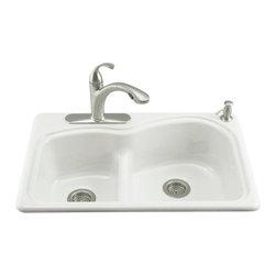 KOHLER - KOHLER K-5839-2-0 Woodfield Smart Divide Self-Rimming Double Bowl Kitchen Sink - KOHLER K-5839-2-0 Woodfield Smart Divide Self-Rimming Double Bowl Kitchen Sink with Two Hole Faucet Drilling in White